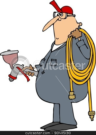 Worker with a paint sprayer stock photo, This illustration depicts a man in coveralls holding a paint spray gun and a coiled air hose. by Dennis Cox