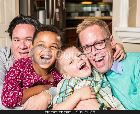 Gay parents with their children stock photo, Gay parents and their children pose for a photo at home by Scott Griessel