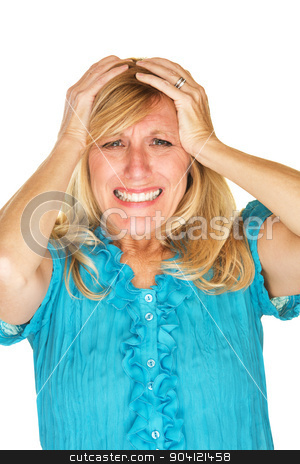 Helpless Woman Holding Head stock photo, Helplessly frustrated European female holding head by Scott Griessel
