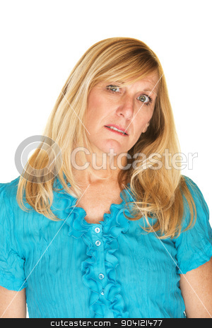 Sad Woman stock photo, Sad single female in blue with tilted head by Scott Griessel