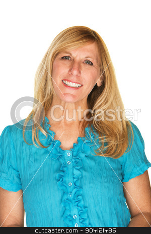 Friendly Blond Female stock photo, Isolated friendly blond female over white background by Scott Griessel