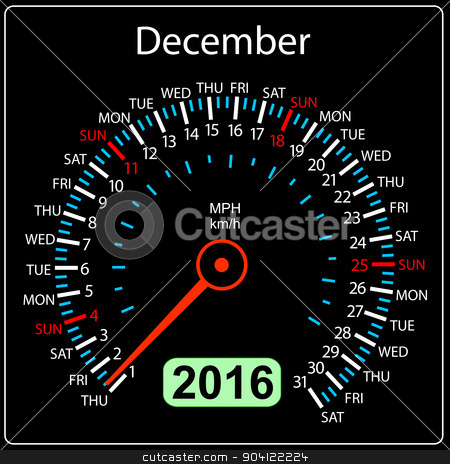 2016 year calendar speedometer car. December. Vector illustratio