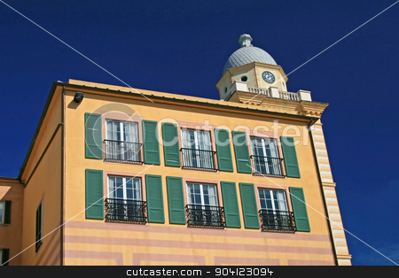 Itailian Building stock photo, An Italian style building with pastel colors by Lucy Clark