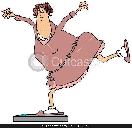 Woman balancing on bathroom scales stock photo, This illustration depicts a woman in a bathrobe standing on bathroom scales with one leg. by Dennis Cox