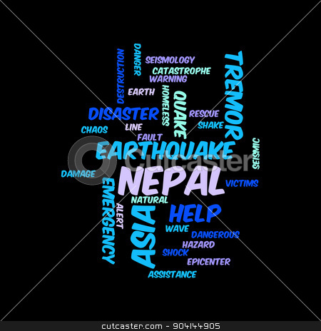 Nepal Earthquake Tremore stock photo, Neap Earthquake Tremore word salad cloud illustration. by Henrik Lehnerer