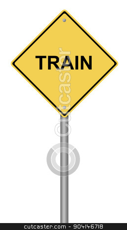 Train Warning Sign stock photo, Yellow warning sign with the writing TRAIN on whiate background. by Henrik Lehnerer
