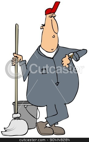 Janitor checking his watch stock photo, This illustration depicts a man wearing coveralls and using a mop checking his watch. by Dennis Cox