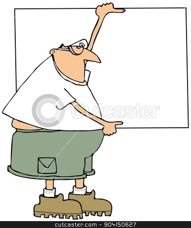 Worker holding a sign stock photo, This illustration depicts a man holding a large blank signboard. by Dennis Cox