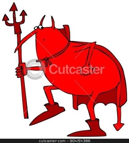 Sneaky Devil stock photo, This illustration depicts a red devil being sneaky. by Dennis Cox