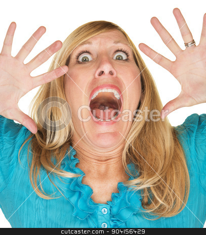 Screaming Woman With Hands Up stock photo, Scared blonde adult female with hands up by face by Scott Griessel
