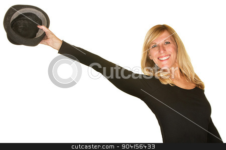 Performing Holding Out Hat stock photo, Cute female dancer holding out hat over white background by Scott Griessel