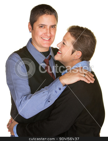 Tall and Short Couple Hugging stock photo, Tall and short gay couple huggin each other by Scott Griessel