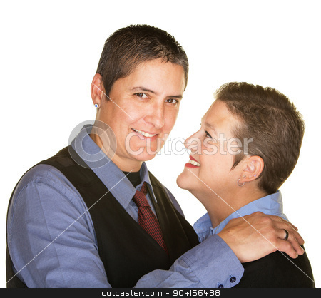 Cheerful Gay Couple stock photo, Cheerful lesbian couple embracing over isolated background by Scott Griessel