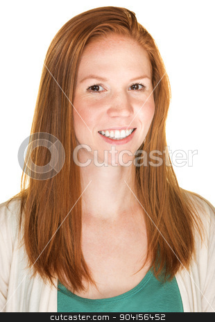 Happy Young Woman stock photo, Isolated happy young Caucasian female with red hair by Scott Griessel