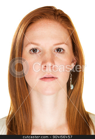 Close Up of Serious Woman stock photo, Single isolated serious female with blank stare by Scott Griessel