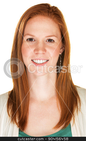 Cheerful Person with Red Hair stock photo, Isolated cheerful young person with red hair by Scott Griessel