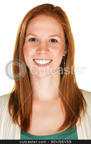 Woman with Glad Expression stock photo, Isolated beautiful young female with glad expression by Scott Griessel