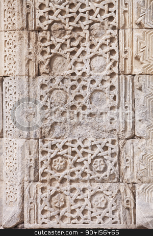 Turkish Design on Caravansary stock photo, Detail of Carved Stone Face on Caravansary in Turkey by Scott Griessel