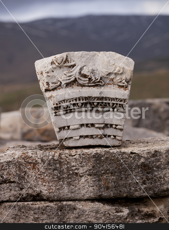 Carved Stone in Turkey stock photo, Stone architectural piece from ruins of Antioch Pisidian  by Scott Griessel