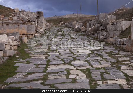 Remains of Road Through Antioch Pisidian in Turkey stock photo, Main roadway through the ancient town of  Antioch Pisidian by Scott Griessel