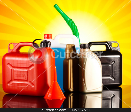 Canisters, Liquids for car on vivid moto concept stock photo, Canisters, Liquids for car on vivid moto concept by Sebastian Duda