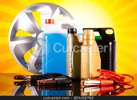 Set of parts car on vivid moto concept stock photo, Set of parts car on vivid moto concept by Sebastian Duda