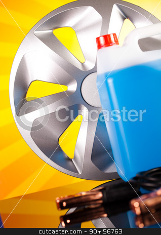 Set of auto parts, car battery on vivid moto concept stock photo, Set of auto parts, car battery on vivid moto concept by Sebastian Duda