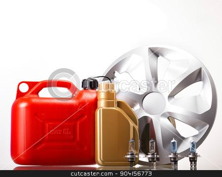 Set of auto parts, car battery on vivid moto concept stock photo, Set of auto parts, car battery on vivid moto concept by Sebastian Duda