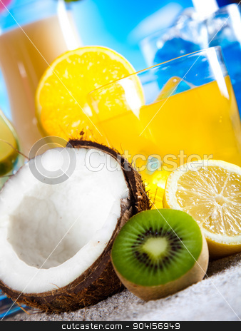Alcohol drinks set with fruits stock photo, Alcohol drinks set with fruits by Sebastian Duda