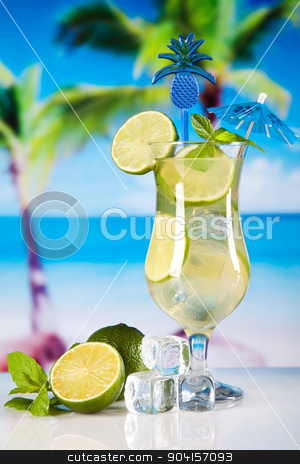 Fresh mojito drink in exotic colorful theme stock photo, Fresh mojito drink in exotic colorful theme by Sebastian Duda