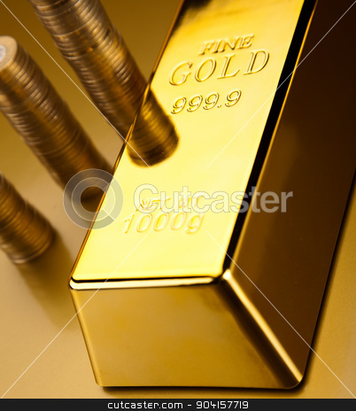 Gold bars and coins, ambient financial concept stock photo, Gold bars and coins, ambient financial concept by Sebastian Duda