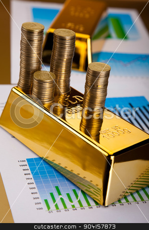 Gold bars background, ambient financial concept stock photo, Gold bars background, ambient financial concept by Sebastian Duda