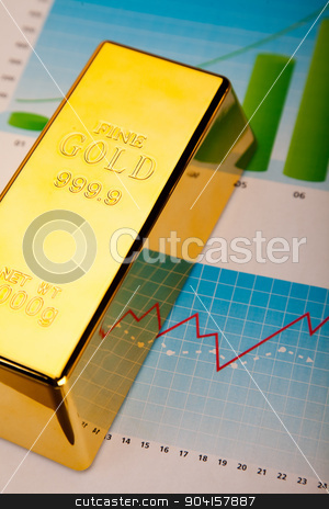 Financial indicators,Chart,Gold bar stock photo, Financial indicators,Chart,Gold bar by Sebastian Duda