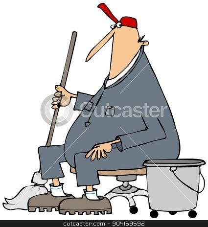 Janitor taking a break stock photo, This illustration depicts a janitor wearing coveralls and holding a mop sitting down and taking a break. by Dennis Cox