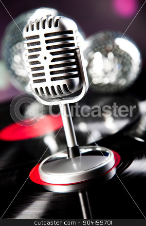 Microphone, Disco Ball, music saturated concept stock photo, Microphone, Disco Ball, music saturated concept by Sebastian Duda