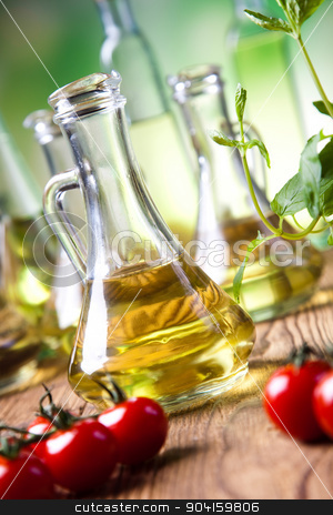 Carafe with olive oil, Mediterranean rural theme stock photo, Carafe with olive oil, Mediterranean rural theme by Sebastian Duda
