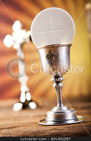 Holy Communion Bread, Wine, bright background, saturated concept stock photo, Holy Communion Bread, Wine, bright background, saturated concept by Sebastian Duda