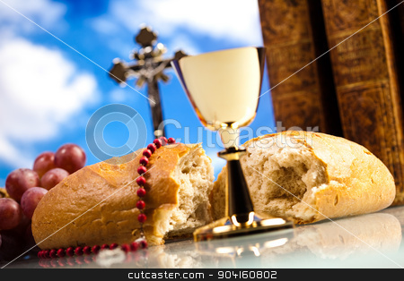 Christian holy communion, bright background, saturated concept stock photo, Christian holy communion, bright background, saturated concept by Sebastian Duda