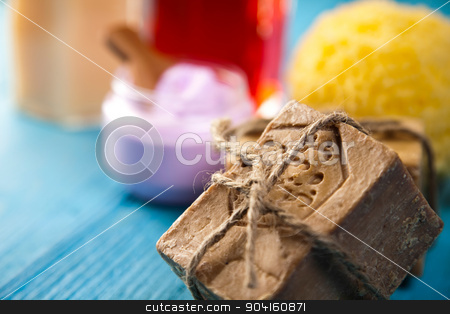 Spa, sea salt in wooden bowl, fresh and organic concept stock photo, Spa, sea salt in wooden bowl, fresh and organic concept by Sebastian Duda