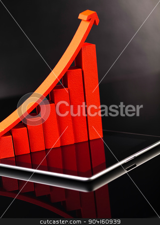 Modern tablet with financial graph stock photo, Modern tablet with financial graph by Sebastian Duda
