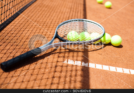 Tennis Ball on court, summertime saturated theme stock photo, Tennis Ball on court, summertime saturated theme by Sebastian Duda