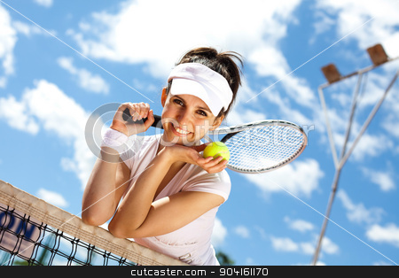 Playing tennis, summertime saturated theme stock photo, Playing tennis, summertime saturated theme by Sebastian Duda
