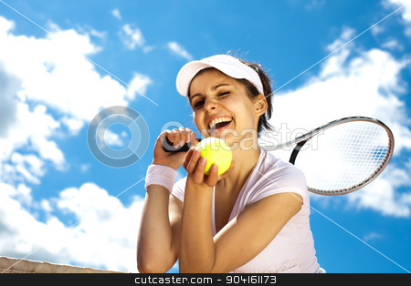 Woman playing tennis in summer stock photo, Woman playing tennis in summer by Sebastian Duda