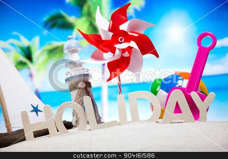 Beach toys, vivid colorful atmosphere stock photo, Beach toys, vivid colorful atmosphere by Sebastian Duda