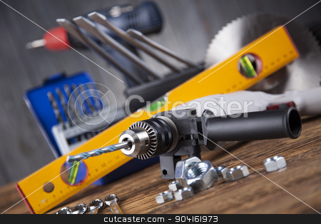 Working tools on wooden background stock photo, Working tools on wooden background by Sebastian Duda