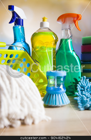 Cleaning supplies,home work colorful theme stock photo, Cleaning supplies,home work colorful theme by Sebastian Duda