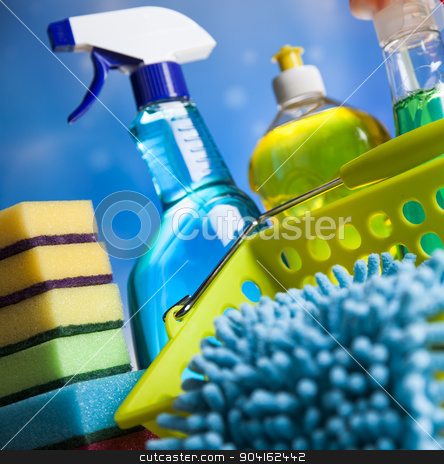 Variety of cleaning products, home work colorful theme stock photo, Variety of cleaning products, home work colorful theme by Sebastian Duda