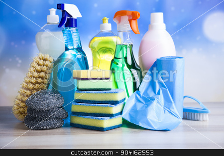 Assorted cleaning products, home work colorful theme stock photo, Assorted cleaning products, home work colorful theme by Sebastian Duda