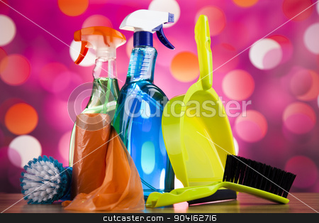 Set of cleaning products, home work colorful theme   stock photo, Set of cleaning products, home work colorful theme by Sebastian Duda