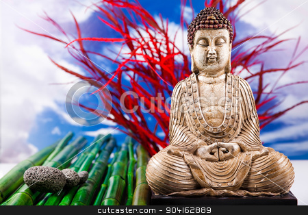 Buddha and blue sky background, vivid colors, natural tone  stock photo, Buddha and blue sky background, vivid colors, natural tone by Sebastian Duda
